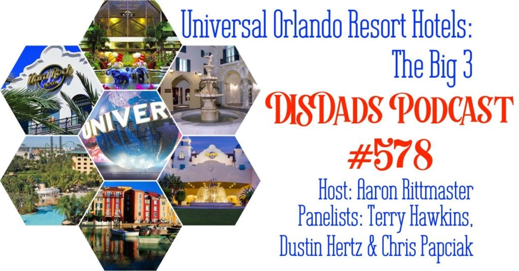 Universal Orlando Resort Hotels: The Big 3 with Host Aaron Rittmaster and panelists Terry Hawkins, Dustin Hertz, and Chris Papciak