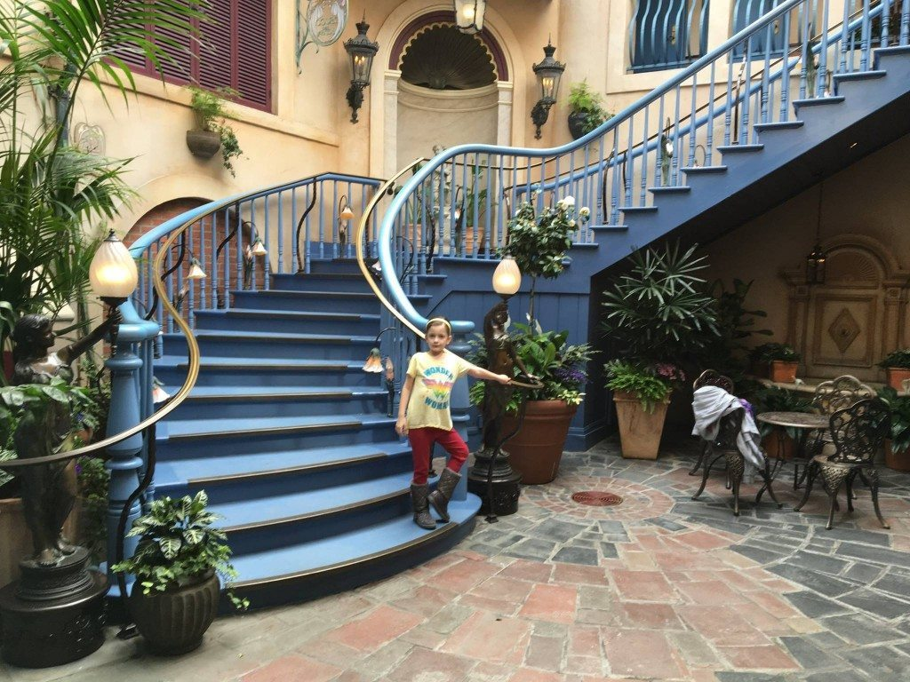Waiting to ascend the stairs to the new Club 33 entrance